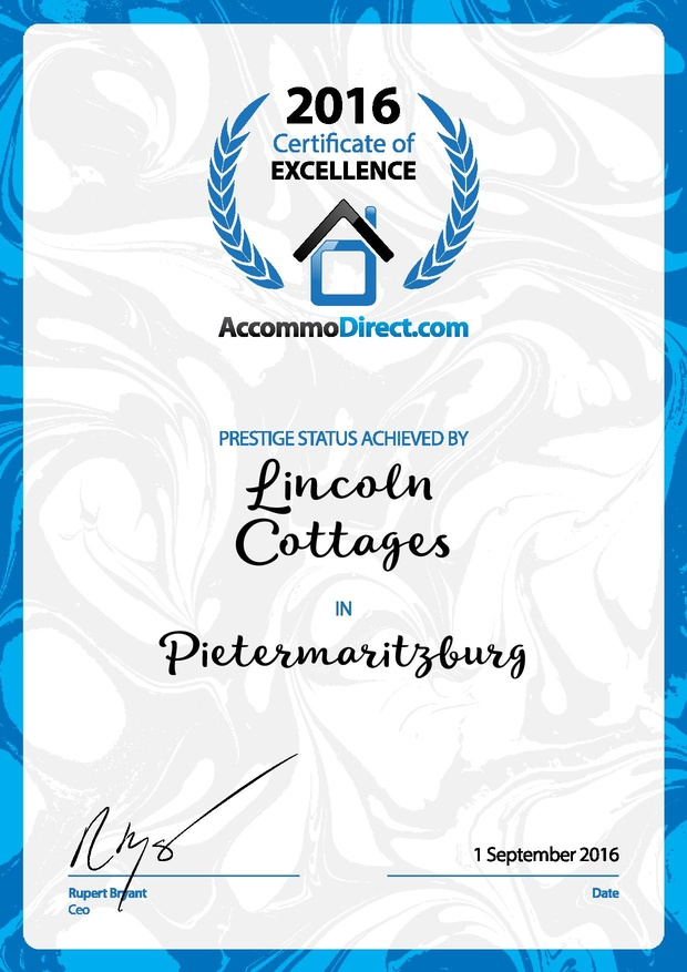 certificate of excellence prestige status lincoln cottages B&B self catering pietermaritzburg